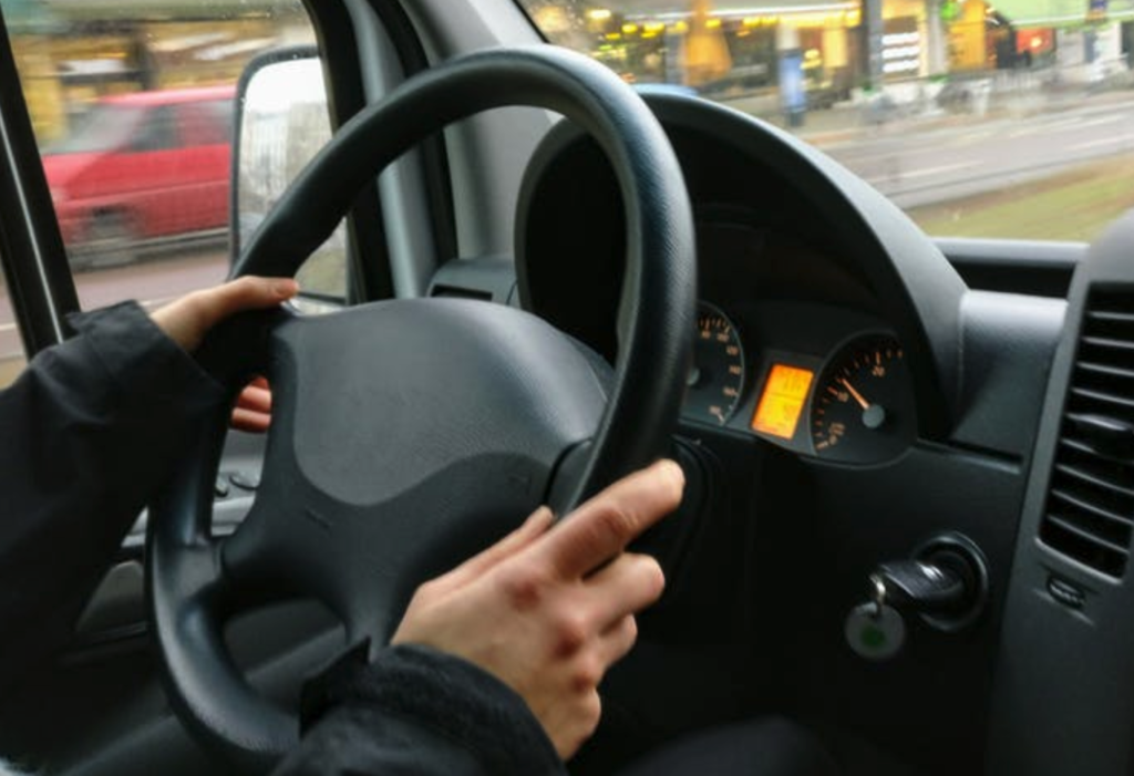 a car dashboard in traffic